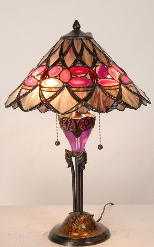 Stained Glass Agate Tiffany Lamps