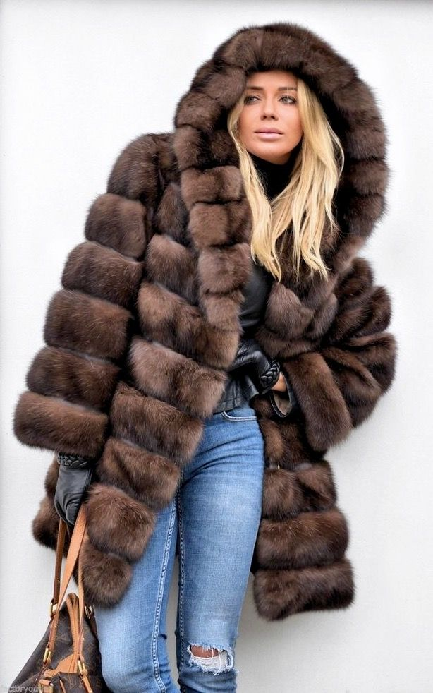 Russian Barguzin Sable Fur Hooded Coat