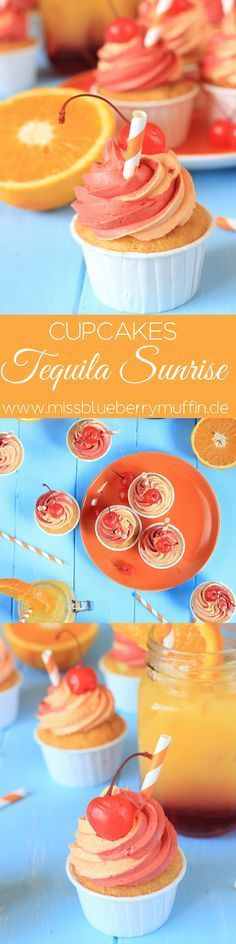 Tequila Sunrise Cupcakes // Cocktail Cupcakes for your summer party