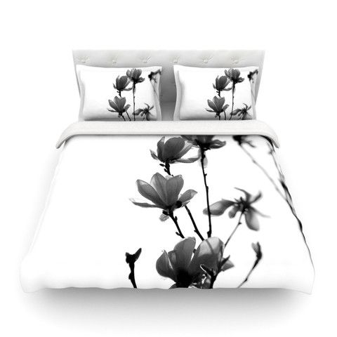 "Monika Strigel ""Mulan Magnolia"" White Gray Cotton Duvet Cover"