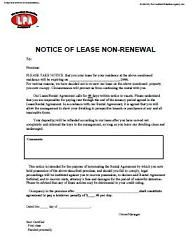 Non Renewal of Tenancy Notice