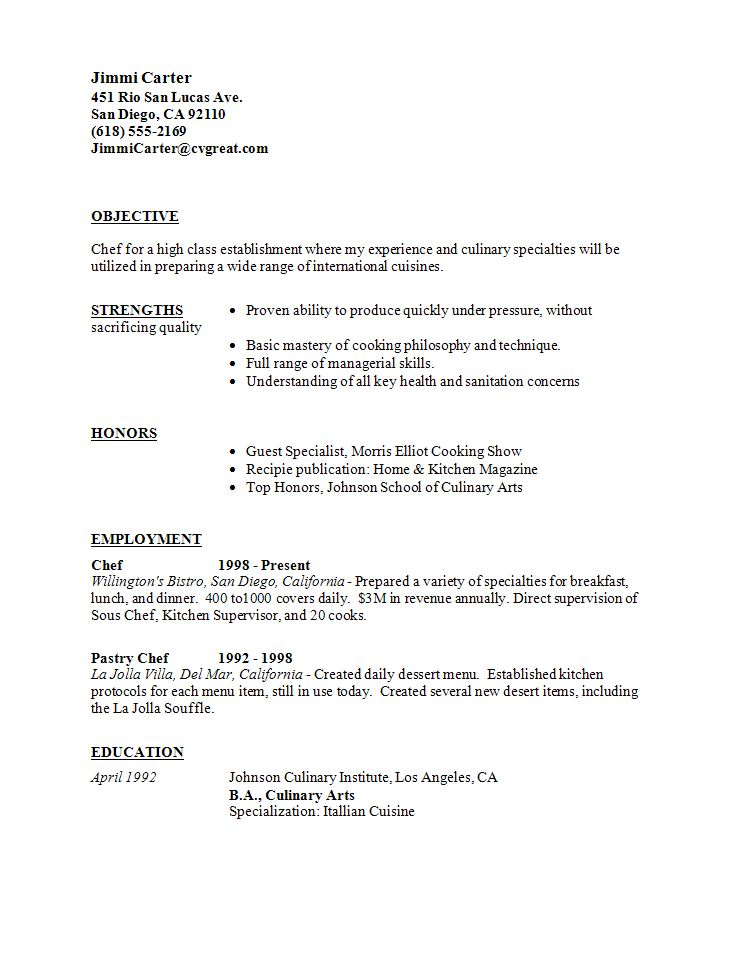 Culinary Resume Examples - Template