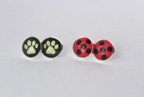 Ladybug Earrings Ladybug Spots Silver Stud Earrings Superhero Girl Ladybug Cat Noir Miraculous Ladybug Marinette Dupain Cheng Adrien Agreste     by BombDotComGeekery