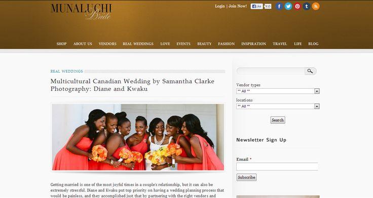 Kwaku and Diane's wedding featured on @Munaluchi LLC Bride's real wedding section!