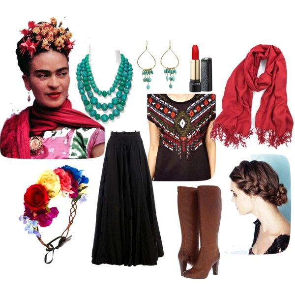DIY: Frida Kahlo Costume by Mano y Metal by manoymetal on Polyvore featuring polyvore, fashion, style, Vero Moda, Yang Li, Frye, Aqua, Julie Tuton Jewelry, Rock 'N Rose and Lancôme