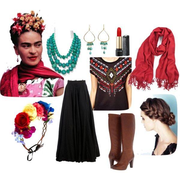 DIY: Frida Kahlo Costume by Mano y Metal by manoymetal on Polyvore featuring polyvore, fashion, style, Vero Moda, Yang Li, Frye, Aqua, Julie Tuton Jewelry, Rock 'N Rose and Lancôme