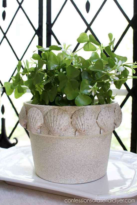 Give a terra cotta pot a beachy makeover with faux stone ...