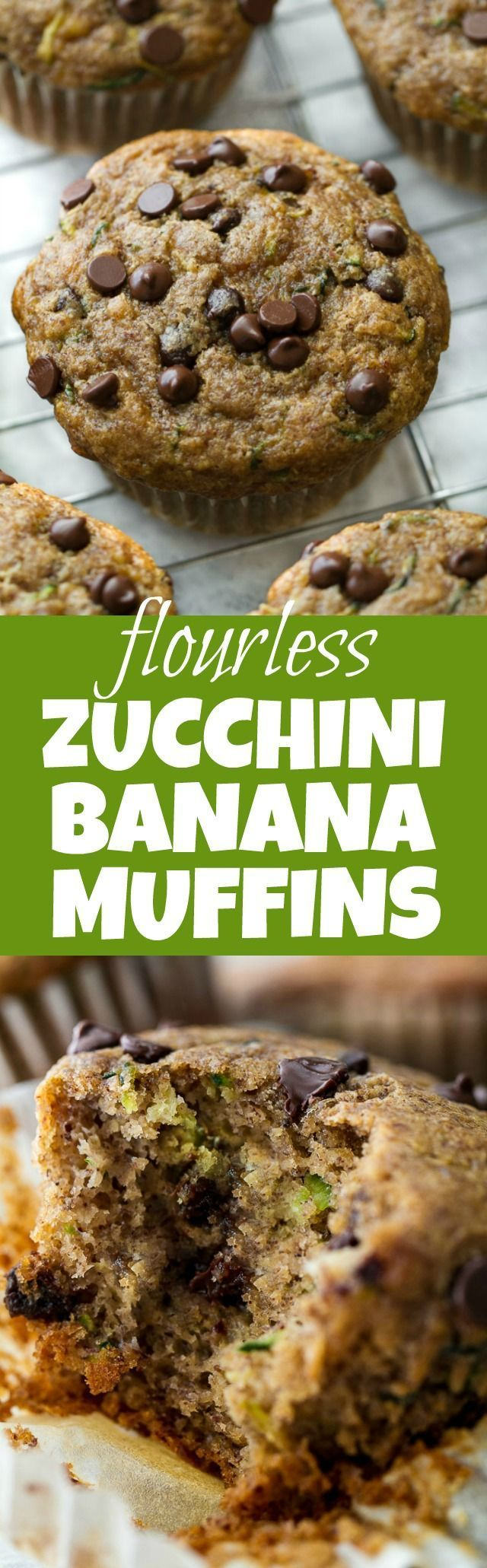 Flourless chocolate chip zucchini banana muffins that are so tender and flavourful, you'd never know they were made without flour, oil, or refined sugar. Gluten free and made with wholesome ingredients, they make a healthy and delicious breakfast or snack | runningwithspoons.com