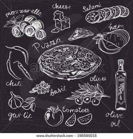 Hand drawn vector illustration. Pizza set. Vintage. Sketch. Chalkboard. - stock vector
