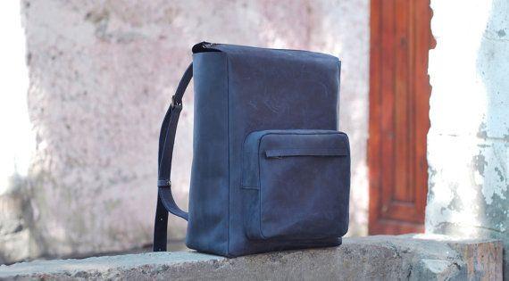 Leather backpack, handmade bag, men's backpack, laptop bag, school bag, big backpack, backpack for men, rucksack, P012 Blue