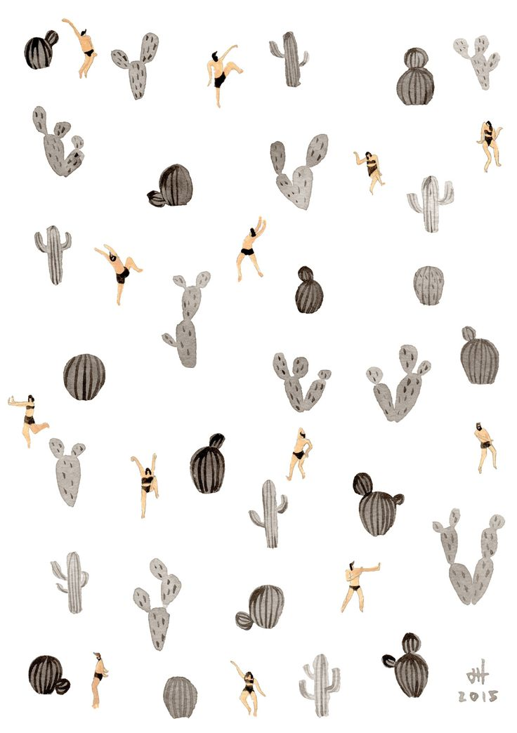 Two things  cacti pattern | black and white desert, by Joanne Ho at Helo Birdie