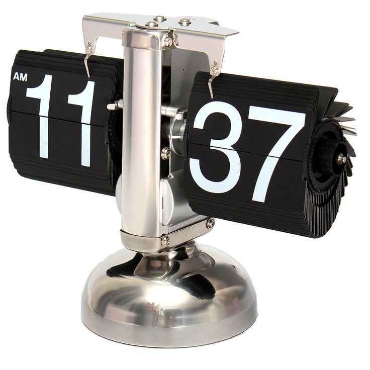 Retro Flip Clock Classic Stylish Desk Auto Modern Clock Vintage Double Bell Scale Clock Black Home Decor Gift