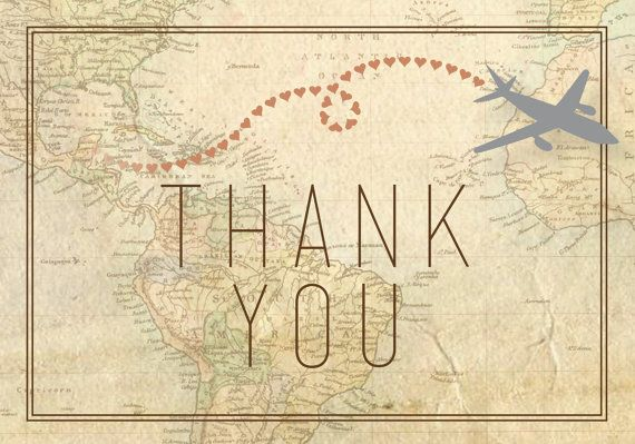 Travel Thank You Cards 10 Cards By Conteurco On Etsy