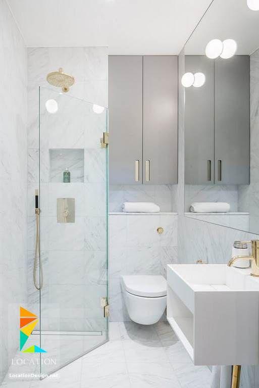 ديكورات حمامات صغيرة المساحة 50 تصميم حمامات مودرن بأفكار رائعة جدا Small Master Bathroom Small Shower Room Small Bathroom