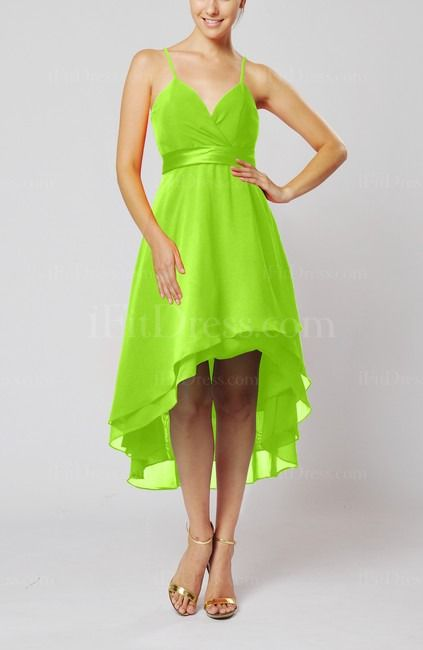 Lime Green Bridesmaid Dress------ Hot pink with bright orange ribbon around waist