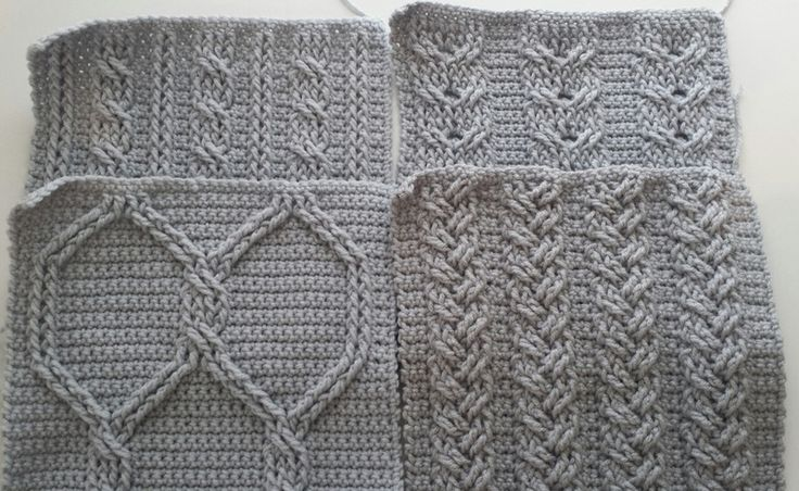 Cable Crochet Squares - 4 free 10 inch cabled crochet square patterns by Elizabeth Ham at Crochet A Trunk-Full O' Fun!
