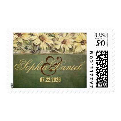 Gold Daisies With Sage Wedding Postage Stamps - gold wedding gifts customize marriage diy unique golden