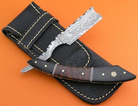 "100% Handmade & Forged Damascus Steel Sana Cutlery Finest Gentleman""s Wet Shaving Grooming Straight Razor Snake Wood Handle R9-2"