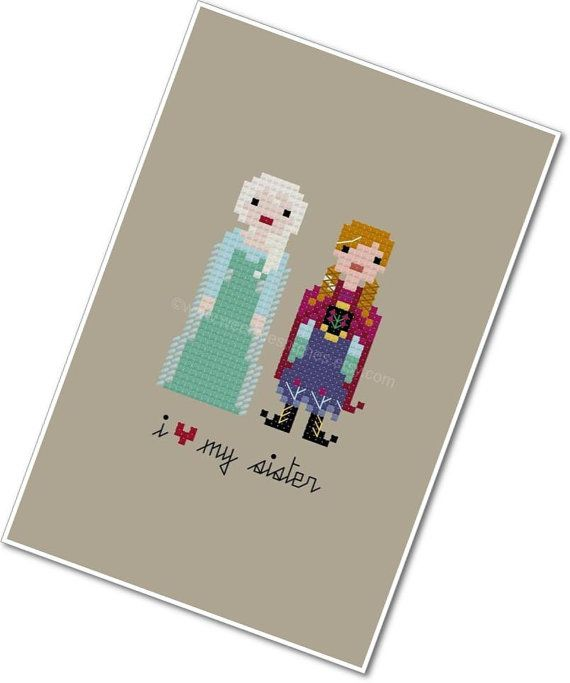 Pixel People - Elsa & Anna - I <3 My Sister - PDF Cross-stitch Pattern - Instant Download