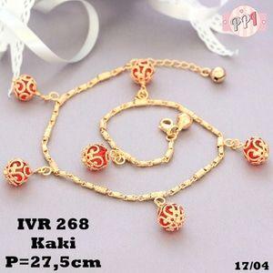 Lapis Emas Gelang Kaki Lampion Batu Rubi Gold Xuping Vr268