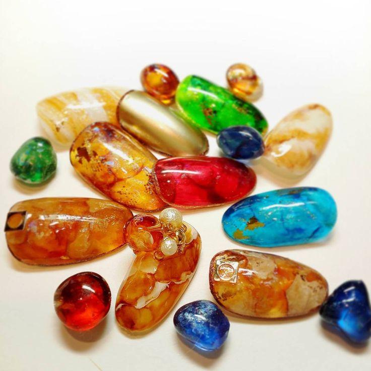 いろんな琥珀#agehaネイル  天然石 マーブル