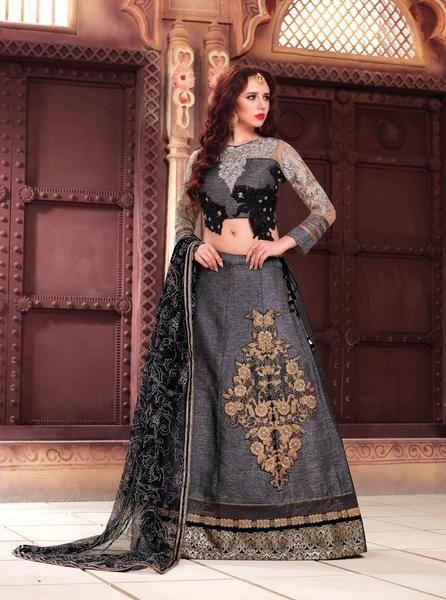 Black Party Wear Best Lehenga Online Shopping ,Indian Dresses - 1