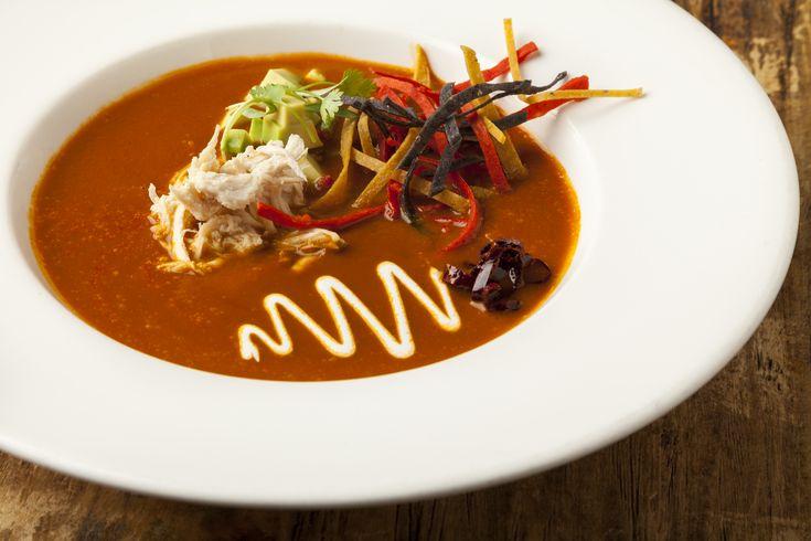 Sopa de Azteca, aka Tortilla Soup - Nice presentation.