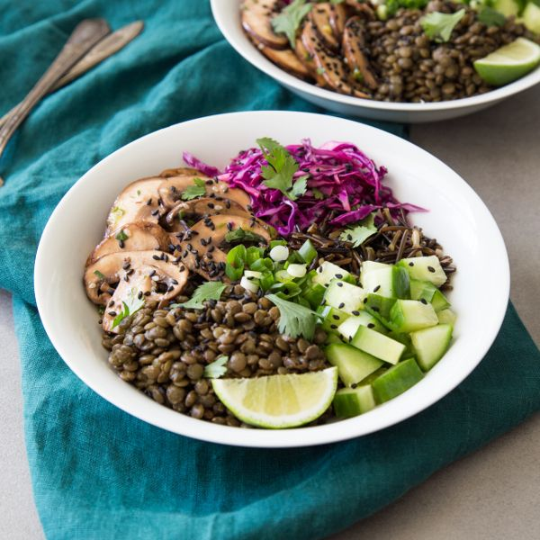 Mushroom Bowls with Lentils and Wild Rice