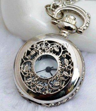 pocket watch | silver pocket watch and chain with decorative front and back for wedding bouquet