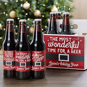 Personalized Holiday Beer Bottle Labels & Carrier - Christmas Gifts