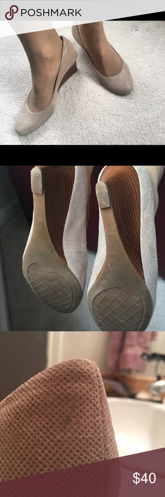 "Calvin Klein wedge dress shoes Beautiful, comfortable wedge heels.  Size 8.5, shimmery winter white shoes which could be for dress or slacks.  2.5"" heel.  I love love these shoes just never wear them. ☹️ Calvin Klein Shoes Wedges"