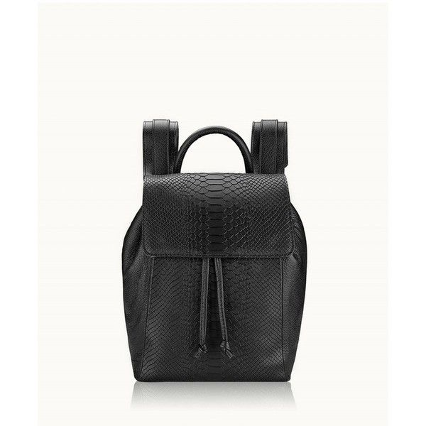 Gigi New York Phoebe Backpack In Black Embossed Python ($385) ❤ liked on Polyvore featuring bags, backpacks, black, gigi new york, leather rucksack, backpack bags, drawstring knapsack and leather knapsack