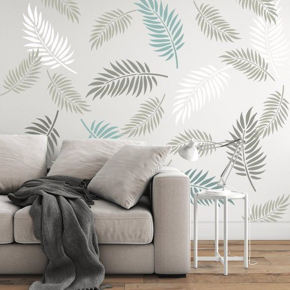 Palm Leaves Pattern Wall Stencil Create A Stunning Wall Etsy In 2021 Wall Stencil Designs Wall Painting Living Room Wall Texture Design