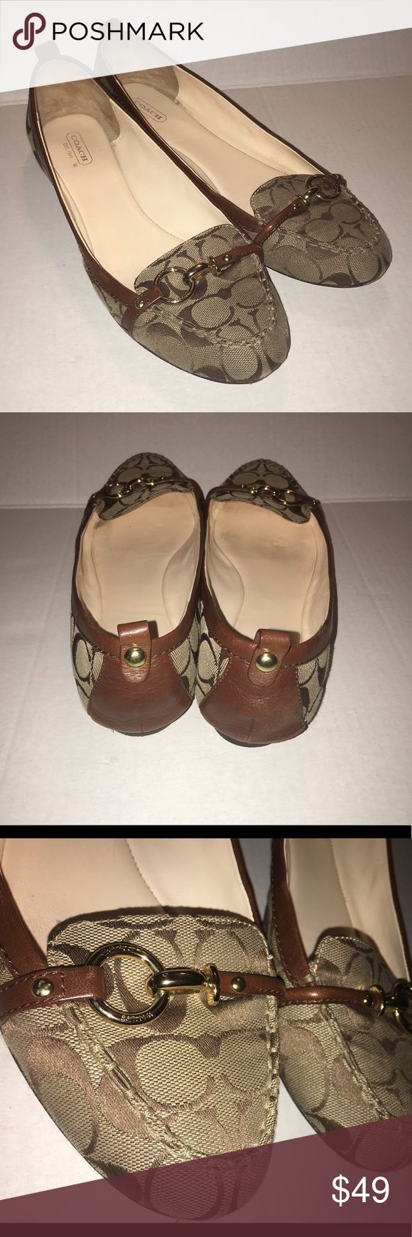Coach flats shoes women's 11.5 Beautiful flats that never go out of style, light wear on inner leather shown in last pic. Fabric is in great condition no issues. Any questions just ask :) Coach Shoes Flats & Loafers