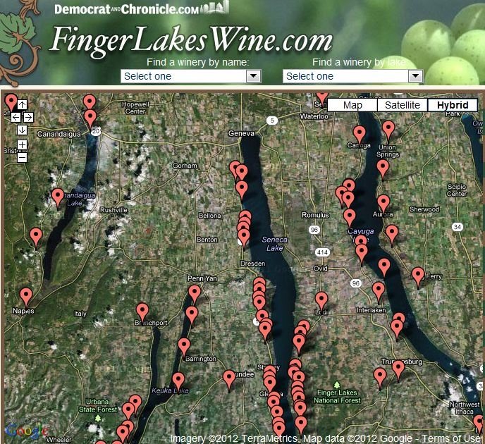 Clickable Google map of Finger Lakes wineries!  Search map of 90 wineries in the region. Click any winery for more info and directions.    http://www.fingerlakeswine.com --- map:   http://www.fingerlakeswine.com/apps/pbcs.dll/article?AID=/99999999/SPECIALS0903/70525012 ---