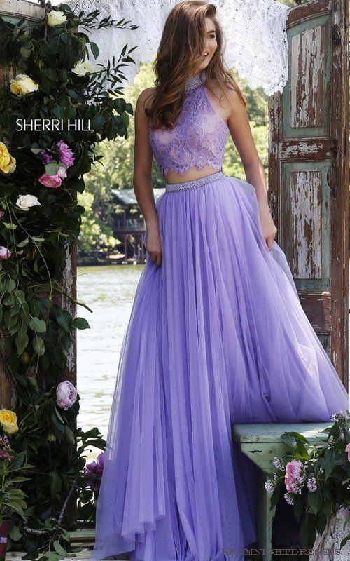 Lilac Sherri Hill 32347 Prom Dress Halter Neckline Illusion