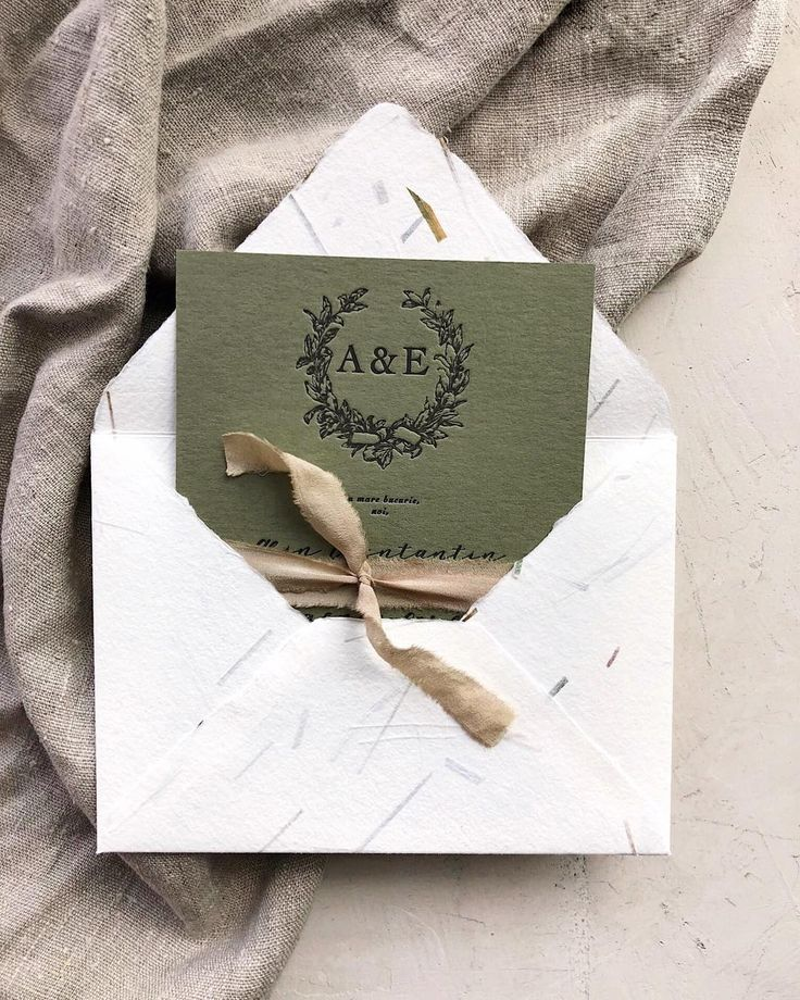 Matchy Matchy Letterpress Invite And Handmade Envelope: Greenery Letterpress Wedding Invitations With Handmade