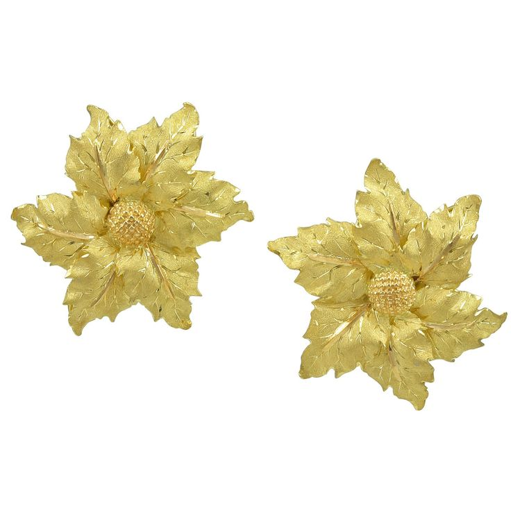 Buccellati Large Gold Leaf Earrings | From a unique collection of vintage clip-on earrings at https://www.1stdibs.com/jewelry/earrings/clip-on-earrings/