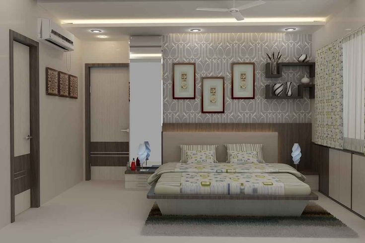 Master Bedroom With Wallpaper Design By Mahendra Jadeja Interior Designer In Navi Mumbai