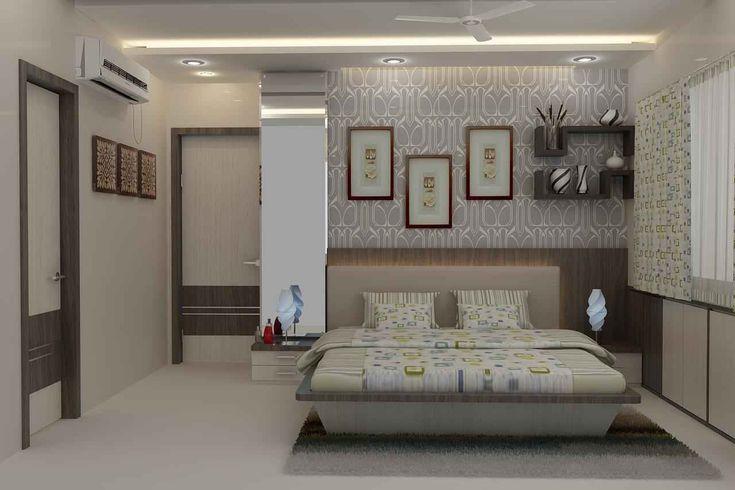 Master bedroom with wallpaper design by mahendra jadeja for Master bedroom designs in india