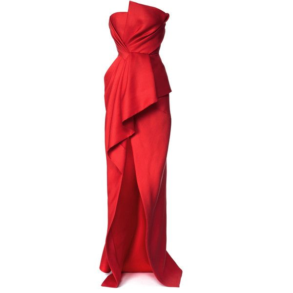 J. Mendel Silk And Wool Gazaar Strapless Bustier Gown featuring polyvore, women's fashion, clothing, dresses, gowns, long dresses, robe, vestidos, long red evening dress, long red dress, red dress and red silk dress