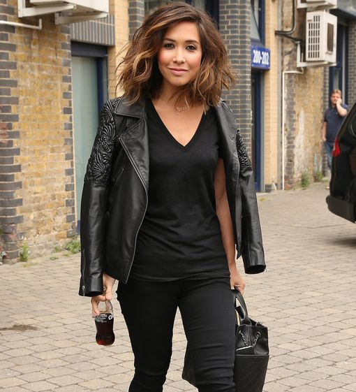 Myleene leaving work before getting ready