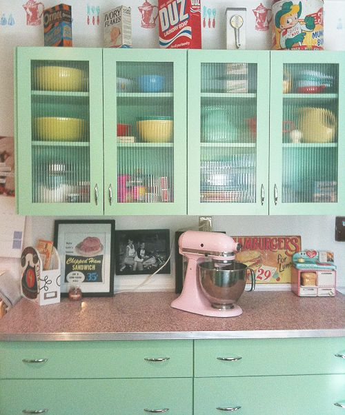Vintage Kitchen - love the glass upper cabinets: