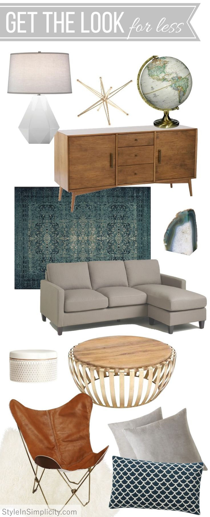 Mid-century Modern Inspired Living Room // Get the Look for Less | eDesign by Style In Simplicity