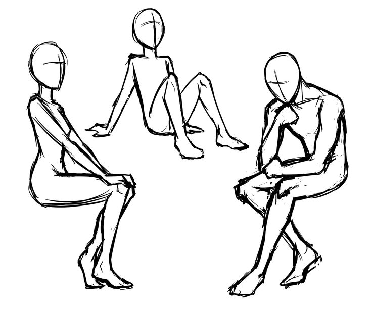 Manga Poses -  a drawing guide for sitting and standing.