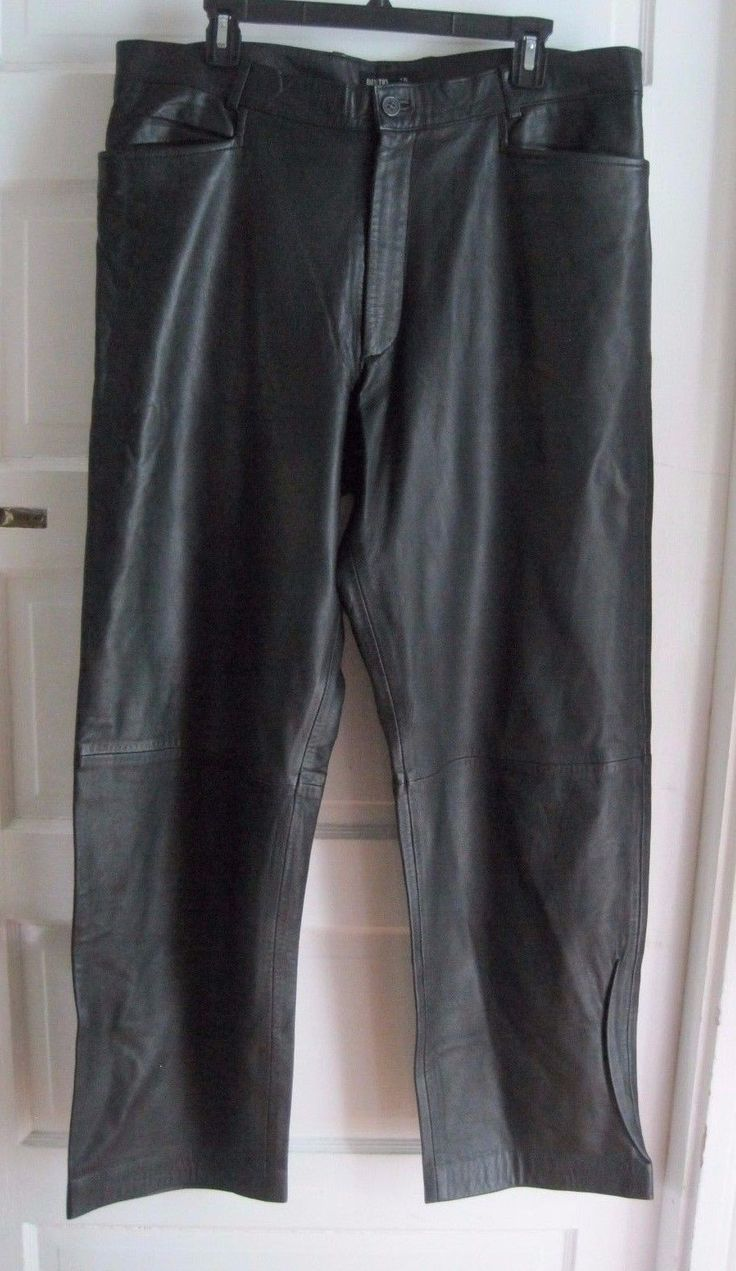 Mens country road black 100 leather motorcycle pants jeans 38 x 33 buttery soft leather motorcycle pants and products
