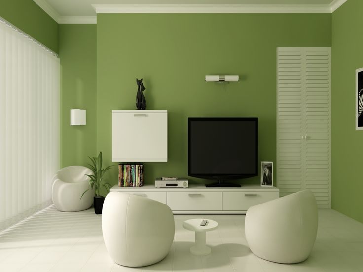 Living Room Green Accent Wall Also White Ceramic Tile Flooring Plus Modern Pouffes Besides