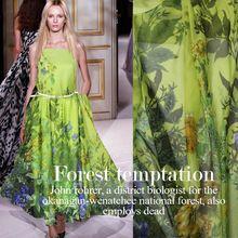 100 * 135 CMFashion ultrafino 100% de mora pura de la gasa de seda Material de la tela textil estampado de flores verde para el vestido de la bufanda del paño(China (Mainland))