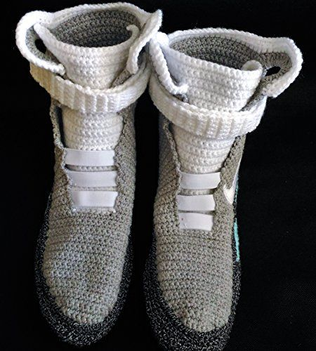 Amazon.com: Handmade Crochet Knitted Home Men's Women's Custom Slippers, BTTF Mag Shoes, Cosplay Shoes, Cosplay Boots Back To The Future Shoes Air Mag Style, Woman's And Men's Indoor Knitted Slippers: Handmade