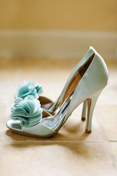 Photography: Elaine Palladino; Berta Wedding Dress Meets Classic Aqua and Gold - wedding shoes;